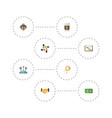 flat icons discussion break support and other vector image vector image