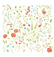 Floral Doodle Field Flowers and Plants Decoration vector image