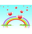 flying hearts on rainbow vector image vector image
