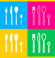 fork spoon and knife sign four styles of icon on vector image