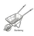 garden wheelbarrow garden tools vector image vector image