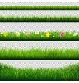 grass borders set transparent background vector image vector image