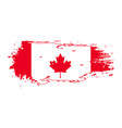 grunge brush stroke with canada national flag vector image