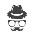 Hipster retro hat eyeglasses and moustache Black vector image