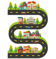 houses and buildings along the road vector image