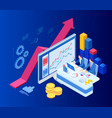 isometric web business concept financial vector image vector image