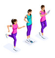 isometry set of beautiful girls athletes vector image vector image