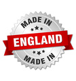 made in England silver badge with red ribbon vector image
