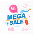 mega sale 50 banner template design with doodle vector image vector image