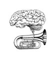 music and brain in vintage style jazz tuba vector image