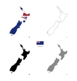 New Zealand country black silhouette and with flag vector image vector image