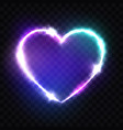 night club neon heart sign retro light signboard vector image vector image
