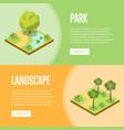 parkland landscape design isometric posters vector image