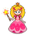 pixel cute princess detailed isolated vector image
