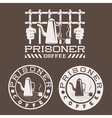 prisoner coffee concept design template vector image vector image