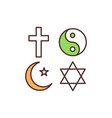 religious symbols rgb color icon vector image