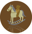 rocking horse with bear vector image vector image
