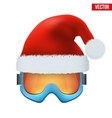 Santa Claus hat on ski goggles vector image vector image