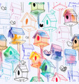 seamless pattern with watercolor birdhouse on vector image vector image