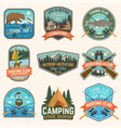 set hunting and fishing club patches vector image vector image