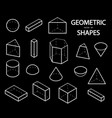 set of 3d geometric shapes isometric views the vector image