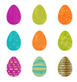 set of colorful realistic easter eggs decorated vector image