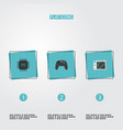 set of computer icons flat style symbols with cpu vector image vector image