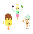 set of funny characters from ice cream vector image
