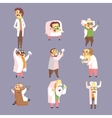 Set Of Funny Mad Scientists In Lab Coats vector image vector image