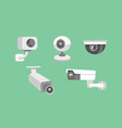 set security camera cctv cartoon vector image