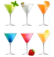 Set with detailed cocktails on white vector image vector image