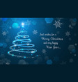 shiny christmas tree and snowflakes on blue vector image