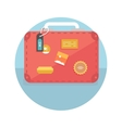 Suitcase with travel stickers vector image vector image