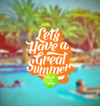Summer vacation retro type design and hotels pool vector image vector image