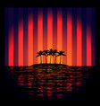 tropical island with neon strips vector image vector image