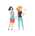 two girls holding hands young women advocating vector image