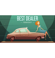 Vintage Car Sale Dealer retro Poster vector image vector image