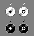 vinyl record black white outline vector image vector image