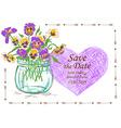 Wedding invitation with mason jar and pansy vector image vector image