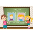 Yearbook with boy girl and chalkboard for two vector image vector image