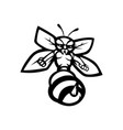 bee mascot logo black and white version vector image