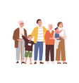 big family looking up at smth happy mother vector image vector image