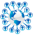 Blue Earth with People Icons vector image vector image