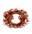 Brown Grungy Banner with Coffee Cup and Beans vector image vector image