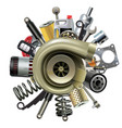 car parts with turbocharger vector image