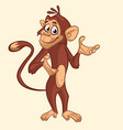 cartoon funny chimpanzee monkey waving hand vector image vector image