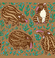 cartoon tapirs seamless pattern brown tapirs with vector image vector image