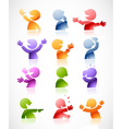 Character in multiple colors and postures vector image vector image