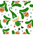 christmas doodle elf seamless pattern on white vector image vector image