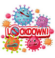 coronavirus poster with word lockdown and many vector image